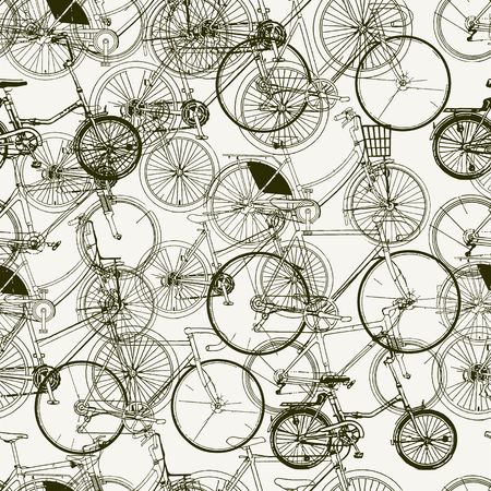 Abstract Seamless bicycles pattern. Stylish vector print Illustration