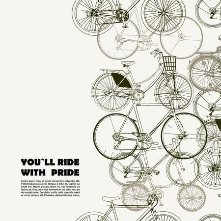 Creatieve poster met diverse fietsen en ruimte voor uw tekst