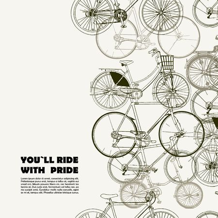 bicycle icon: Creative poster with various bikes and space for your text