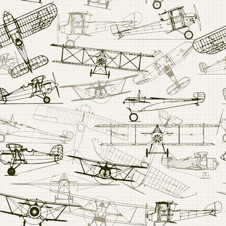 ビンテージのシームレスな背景。様式化された飛行機の図の構成。グラフ用紙のテクスチャをオフにすることができます。Web ページの背景テクスチ