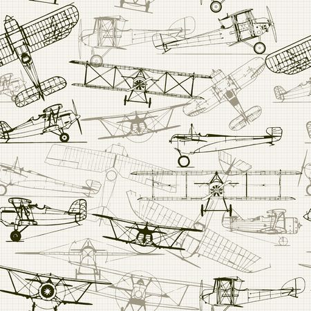 airplane: Vintage  seamless background. Stylized airplane illustration composition. texture of graph paper can be turned off. Can be used for wallpaper, pattern fills, web page background,surface textures.