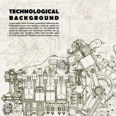 Fondo tecnológico retro, dibujo del motor y el espacio para el texto.