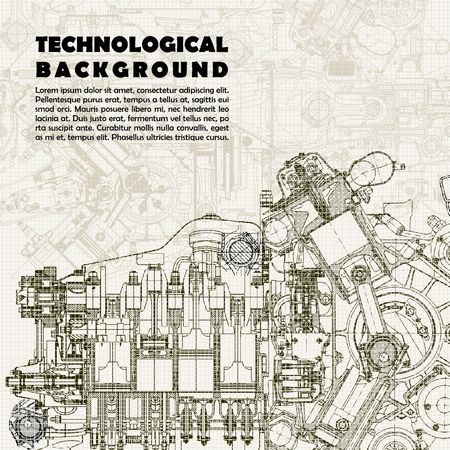 Retro technological background, drawing engine and space for your text.