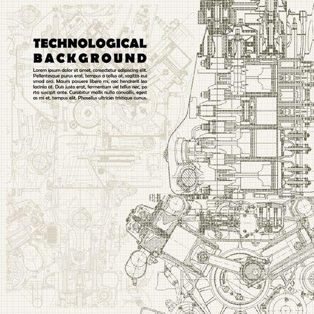 dibujo tecnico: monocromático retro antecedentes técnicos, el motor y el espacio de dibujo para el texto. La textura del papel de gráfico se puede apagar.