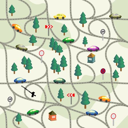 lake district: Funny kids seamless pattern Road with  colorful cars, signs, trees, houses. Can be used for wallpaper, pattern fills, web page background,surface textures. Easy editable vector. Illustration