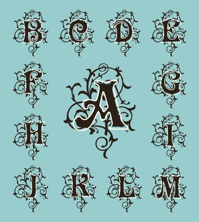 gaudy: Vintage set capital letters, floral Monograms and beautiful filigree font. Art Deco, Nouveau, Modern style.