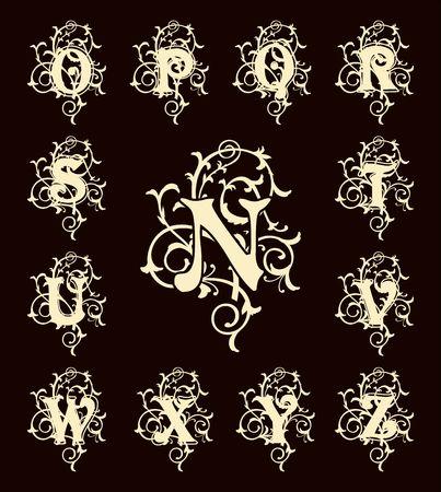 Cartas Vintage conjunto de capital, Monogramas florales y hermosa fuente de filigrana. Art déco, nouveau, estilo moderno. Vectores