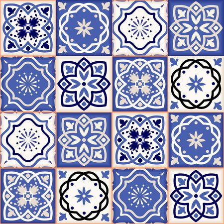 fabric pattern: Gorgeous seamless patchwork pattern from colorful Moroccan tiles, ornaments. Can be used for wallpaper, pattern fills, web page background,surface textures. Illustration