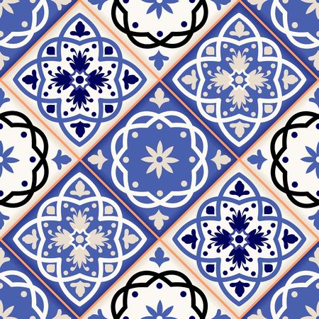 portuguese: Gorgeous seamless patchwork pattern from colorful Moroccan tiles, ornaments. Can be used for wallpaper, pattern fills, web page background,surface textures. Illustration