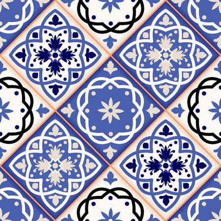 Splendido motivo patchwork senza soluzione di continuità da colorate piastrelle marocchine, ornamenti. Può essere utilizzato per carta da parati, riempimenti a motivo, sfondo della pagina web, texture di superficie.