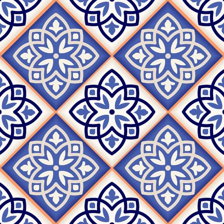 Gorgeous seamless patchwork pattern from colorful Moroccan tiles, ornaments. Can be used for wallpaper, pattern fills, web page background,surface textures. Ilustracja