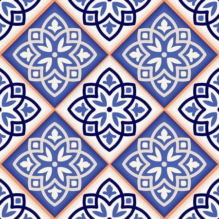 Modelo magnífico mosaico sin fisuras de coloridos azulejos marroquíes, adornos. Puede ser utilizado para el papel pintado, patrones de relleno, de fondo página web texturas de la superficie. Foto de archivo - 42963858