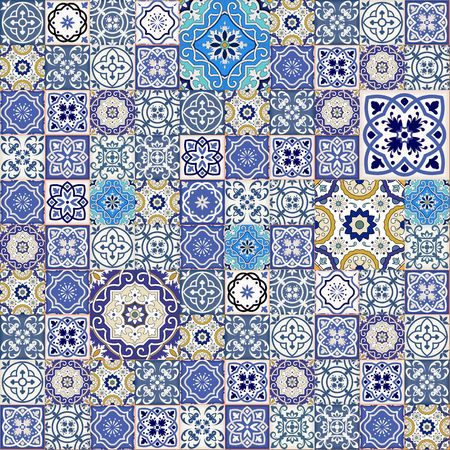textile patterns: Mega Gorgeous seamless patchwork pattern from colorful Moroccan tiles, ornaments. Can be used for wallpaper, pattern fills, web page background,surface textures.