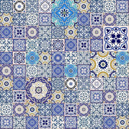 muster: Mega Herrliche nahtlose Patchwork-Muster aus bunten marokkanischen Fliesen, Verzierungen. Kann für Tapeten, Muster füllt, Web-Seite Hintergrund, Oberflächen-Texturen verwendet werden. Illustration