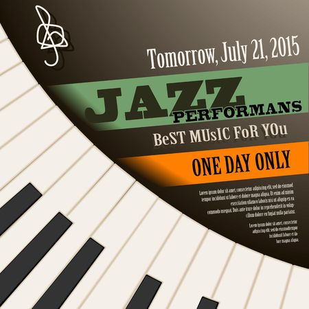 Jazz musician concert show poster with piano keys vector illustration Vectores