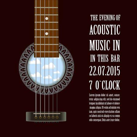 Música concierto espectáculo cartel creativo con guitarra acústica ilustración vectorial Vectores
