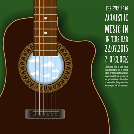 lead guitar: Music concert show Creative poster with acoustic guitar vector illustration Illustration