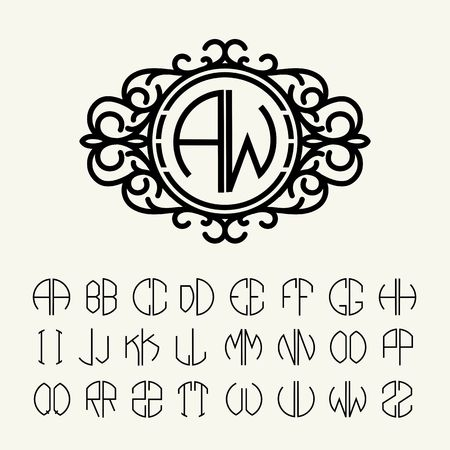 Set  template letters to create monograms of two letters in scribed in a circle. Elegant line art logo design in Victorian Style Illustration