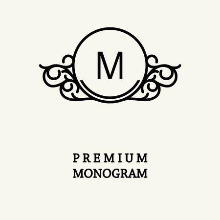 スタイリッシュな優雅なモノグラム、ビクトリア朝様式の優雅なライン アート ロゴ デザイン