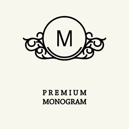 oriental background: Stylish  graceful monogram , Elegant line art logo design in Victorian Style