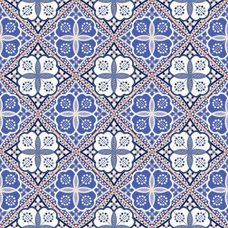 indigo: Gorgeous seamless patchwork pattern from colorful Moroccan tiles, ornaments. Can be used for wallpaper, pattern fills, web page background,surface textures. Illustration