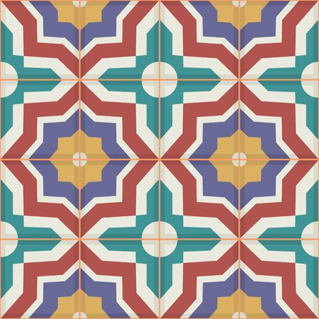 Gorgeous seamless patchwork pattern from colorful Moroccan tiles, ornaments. Can be used for wallpaper, pattern fills, web page background,surface textures. Vectores
