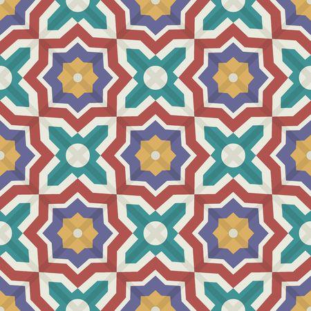 カラフルなモロッコのタイル、装飾品から豪華なシームレスなパッチワークのパターン。Web ページの背景テクスチャ、パターンの塗りつぶしの壁紙