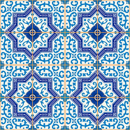Gorgeous seamless  pattern from dark blue and white Moroccan, Portuguese  tiles, Azulejo, ornaments. Can be used for wallpaper, pattern fills, web page background,surface textures. Vectores