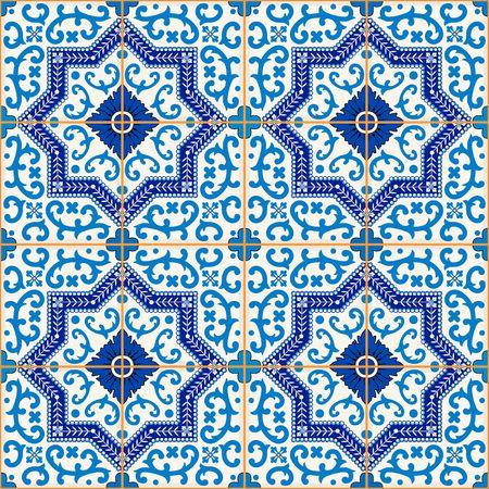 Prachtige naadloze patroon van donker blauwe en witte Marokkaanse, Portugese tegels, Azulejo, ornamenten. Kan gebruikt worden voor behang, patroonvullingen, webpagina achtergrond, oppervlaktestructuren. Stock Illustratie