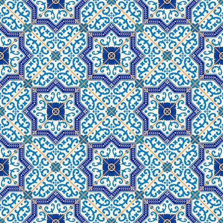 Gorgeous bez szwu wzór z ciemny niebieski i biały marokańskiej, portugalskich płytek, Azulejo, ozdoby. Może być stosowany do tapety, wzór wypełnienia tła strony internetowej, tekstur powierzchniowych. Ilustracje wektorowe