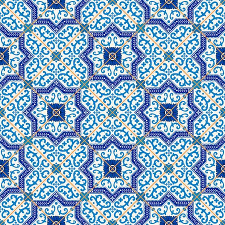 Gorgeous seamless  pattern from dark blue and white Moroccan, Portuguese  tiles, Azulejo, ornaments. Can be used for wallpaper, pattern fills, web page background,surface textures. Иллюстрация