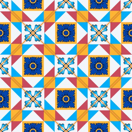 Gorgeous seamless pattern from Moroccan, Portuguese  tiles, Azulejo, ornaments. Can be used for wallpaper, pattern fills, web page background,surface textures.  イラスト・ベクター素材