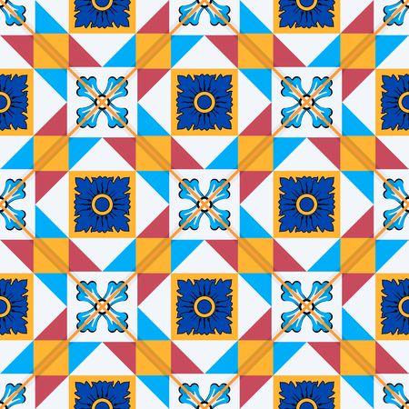 モロッコ、ポルトガル タイル、Azulejo、飾りから豪華なシームレス パターン。Web ページの背景テクスチャ、パターンの塗りつぶしの壁紙に使用でき  イラスト・ベクター素材