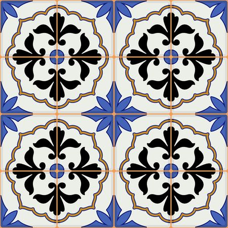 Gorgeous seamless  pattern from dark blue and white Moroccan, Portuguese  tiles, Azulejo, ornaments. Can be used for wallpaper, pattern fills, web page background,surface textures. Illustration