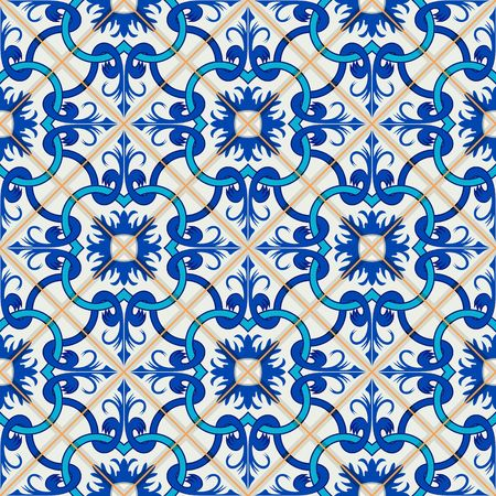 gorgeous: Gorgeous seamless patchwork pattern from dark blue and white Moroccan, Portuguese  tiles, Azulejo, ornaments. Can be used for wallpaper, pattern fills, web page background,surface textures.