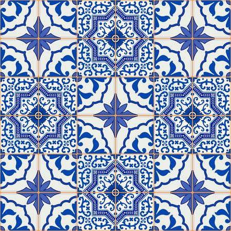 Gorgeous seamless patchwork pattern from dark blue and white Moroccan, Portuguese  tiles, Azulejo, ornaments. Can be used for wallpaper, pattern fills, web page background,surface textures. Reklamní fotografie - 46036068