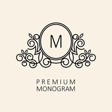 Premium Modern monogram, emblem design template with letter M. Vector illustration. Illustration