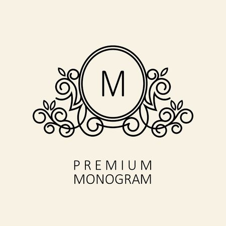 Premium Modern monogram, emblem design template with letter M. Vector illustration. Ilustracja