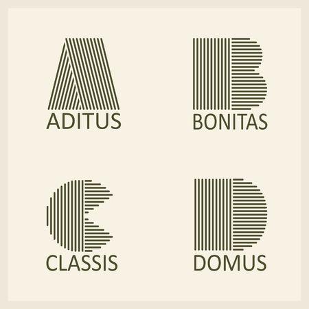lettre alphabet: Les lettres majuscules Creative A, B, C, D. faite de bandes parall�les. Mod�les embl�mes et des monographies. Illustration