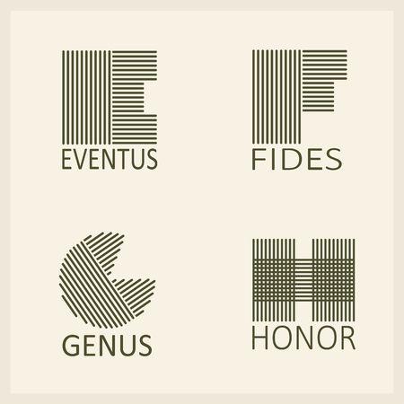 創造的な大文字 E, F, G, h. 製平行ストリップ。テンプレート、エンブレム、モノグラフ。