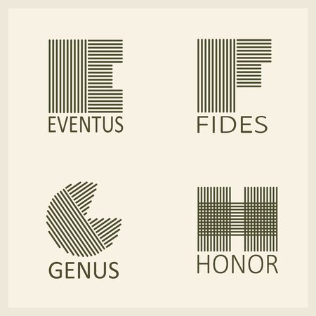 Creative Capital letters E, F, G, H. Made of parallel strips. Templates, emblems and monographs. Illustration
