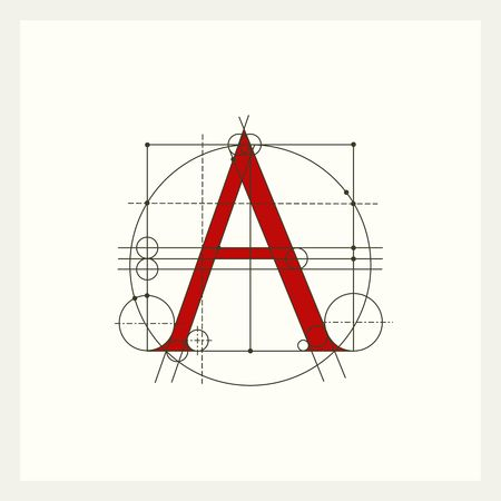 capitals: Creative monogram, Construction Latin capital letter A. Illustration