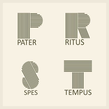r: Creative Capital letters P, R, S, T. Made of parallel strips. Templates for logos, emblems and monographs. Illustration