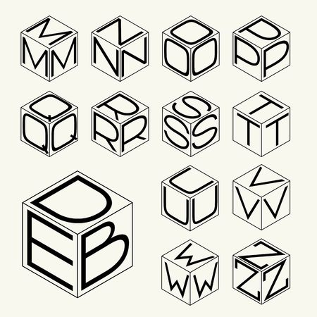 inscribed: Set 2 template of the letters inscribed in the three sides of the cube, hexagon.  Illustration