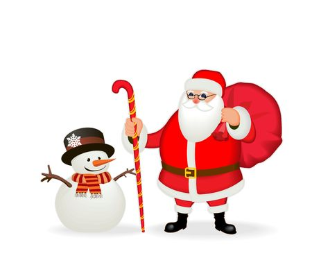 Funny friendly Santa Claus & snowman. Isolate, without gradients.