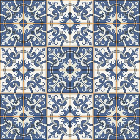 Gorgeous seamless patchwork pattern from dark blue and white Moroccan tiles, ornaments. Can be used for wallpaper, pattern fills, web page background,surface textures. Stock fotó - 46036414