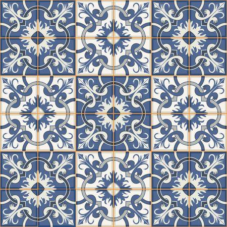 Modelo magnífico mosaico sin fisuras desde el azul oscuro y azulejos blancos marroquíes, adornos. Puede ser utilizado para el papel pintado, patrones de relleno, de fondo página web texturas de la superficie. Foto de archivo - 46036414