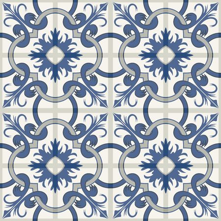 Gorgeous seamless patchwork pattern from dark blue and white Moroccan tiles, ornaments. Can be used for wallpaper, pattern fills, web page background,surface textures.