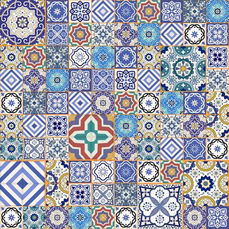Mega Gorgeous seamless patchwork pattern from colorful Moroccan tiles, ornaments. Can be used for wallpaper, pattern fills, web page background,surface textures. Фото со стока - 46036598