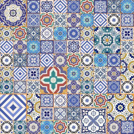 Mega Herrliche nahtlose Patchwork-Muster aus bunten marokkanischen Fliesen, Verzierungen. Kann für Tapeten, Muster füllt, Web-Seite Hintergrund, Oberflächen-Texturen verwendet werden. Standard-Bild - 46036598